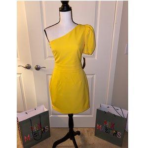 Zara one shoulder yellow dress